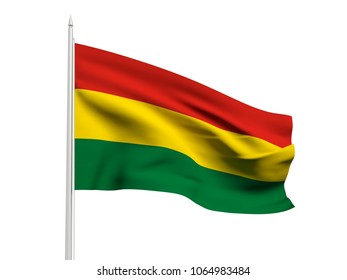 Bolivia flag floating in the wind with a White sky background. 3D illustration.