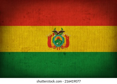 Bolivia flag pattern on the fabric texture ,retro vintage style