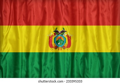 Bolivia flag pattern on the fabric texture ,vintage style