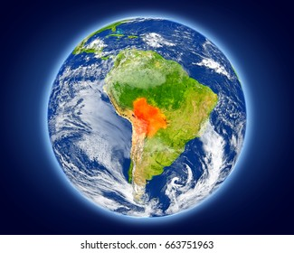 Bolivia highlighted in red on planet Earth. 3D illustration with detailed planet surface. Elements of this image furnished by NASA.