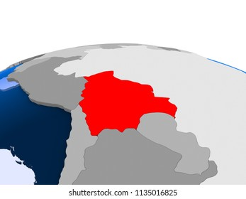 Bolivia highlighted in red on political globe with transparent oceans. 3D illustration.