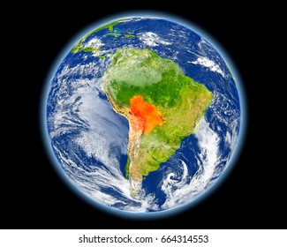 Bolivia on planet Earth. 3D illustration with detailed planet surface. Elements of this image furnished by NASA.