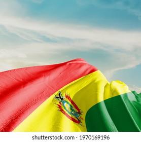 Bolivia waving flag in the sky.