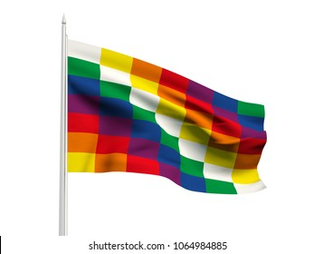 Bolivia Wiphala flag floating in the wind with a White sky background. 3D illustration.