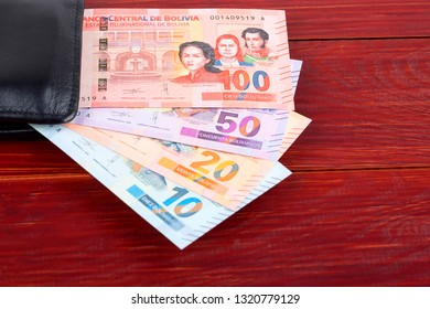 Bolivian Boliviano in the black wallet