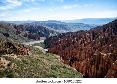 Bolivian canyon near Tupiza, Bolivia. Quebrada de Palala. Rock formations.