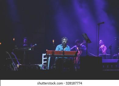 Bollate (Italy) 07/16/2015 - Concert of Italian singer Dario Brunori, entitled BRUNORI SAS, at the Festival of Villa Arconati.