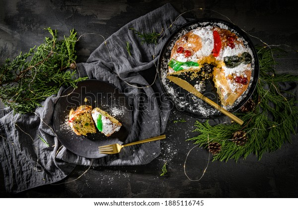 Bolo do Rei or King's Cake, Made for Christmas, Carnavale or Mardi Gras on kitcthen countertop.