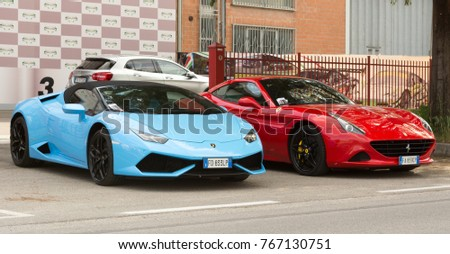 Bologna 02 December 2017 Red Ferrari Lamborghini Stock Photo Edit