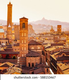 Bologna, Asinelly Tower and San Luca hill on background, Emilia Romagna, Italy