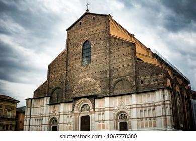 Bologna cathedral in Piazza Maggiore in Italy