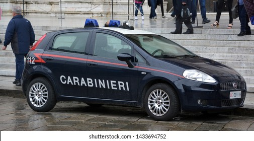 BOLOGNA ITALY  05 28 19: Italian police car. Law enforcement in Italy is an exclusive duty of the State, with policing centralized on a national level.