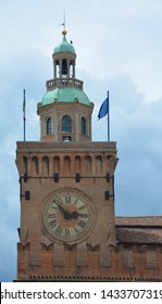 BOLOGNA ITALY  05 28 19: Accursi Tower or the Clock Tower, is located in Piazza Maggiore. The owner of the tower was Accursio, a young man who had moved from Florence to Bologna to study law