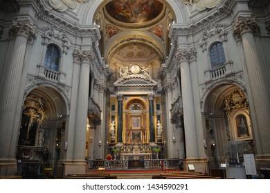 BOLOGNA ITALY  05 28 2019: Indoor of the Sanctuary of Santa Maria della Vita is a late-Baroque-style, Roman Catholic church in central Bologna, near the Piazza Maggiore.