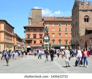 BOLOGNA ITALY  05 28 2019:  The Fountain of Neptune (Italian: Fontana di Nettuno) is a monumental civic fountain located in the eponymous square, Piazza del Nettuno, next to Piazza Maggiore