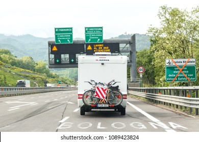 BOLOGNA, ITALY 06 MAY, 2018: Camper on the road in Italy, motorhome rv trailer