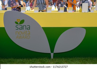 Bologna, Italy, 09 Sep 2018 - Logo of Sana fair in Bologna - Sana is a vegan oriented event dedicated to green lifestyle , organic food and cosmetics.