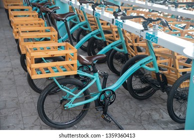 Bologna - Italy 11/16/2018: Eataly/Fico: A tricycle by Bianchi design in Fico/Eataly food park in Bologna.