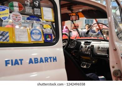 """Bologna, Italy - 11/25/2018: """"creative world"""" fair. Historical Car Fiat 500 Abarth"""