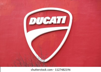 Bologna , Italy 17 June 2018 : close up of the ducati logo located in the production factory of the famous motorcycling brand is the motorcycle-manufacturing italian company.