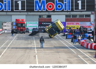 BOLOGNA, ITALY - 2 DECEMBER 2010: Stuntman Show with Tir Truck at the Bologna Motor Show. Italy.