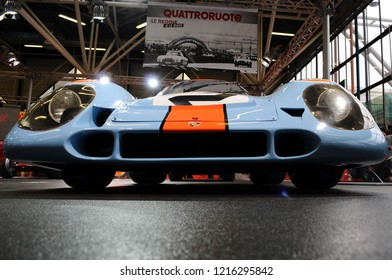 BOLOGNA, ITALY - 2 DECEMBER 2010: Porsche 917K 1970 Gulf of the 24 Hours of Le Mans exhibited at the Bologna Motor Show. Italy