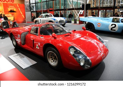 BOLOGNA, ITALY - 2 DECEMBER 2010:  Alfa Romeo 33/2 1968 of 24 Hours of Le Mans exhibited at the Bologna Motor Show. Italy