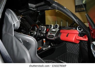 BOLOGNA, ITALY - 2 DECEMBER 2010 PAGANI Zonda F exposed at the Bologna Motor Show. Italy
