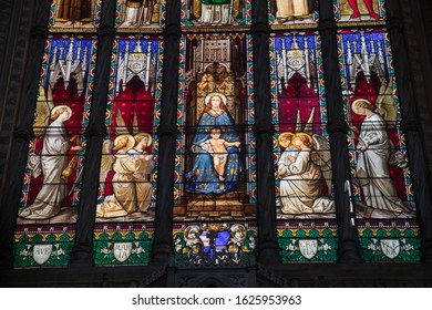 Bologna, Italy - 21 January 202: Stained glass in the Basilica di San Petronio