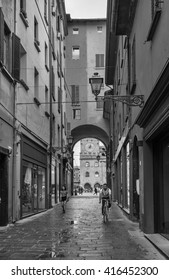 BOLOGNA, ITALY - 25 JUNE, 2014: General view of the downtown streets . Black and white photography.