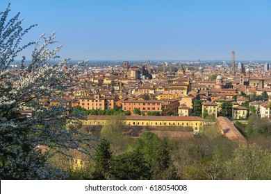 BOLOGNA, ITALY - APR 3, 2017: Spring cityscape with Asinelli tower and San Petronio Cathedral