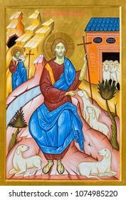 BOLOGNA, ITALY - APRIL 18, 2018: The icon of Christ as the Good Shepherd in church  Chiesa di San Pietro by Giancarlo Pellegrini.
