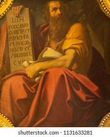 BOLOGNA, ITALY - APRIL 18, 2018: The painting of prophet Isaiah in church Chiesa di San Benedetto by Giacomo Gavedoni (1577 - 1660).