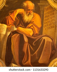 BOLOGNA, ITALY - APRIL 18, 2018: The painting of prophet Jeremiah in church Chiesa di San Benedetto by Giacomo Gavedoni (1577 - 1660).