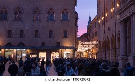 Bologna, Italy - April 2, 2018: Via D'Azeglio with the luminous writing of a famous song by Lucio Dalla, well-known Bolognese singer-songwriter.