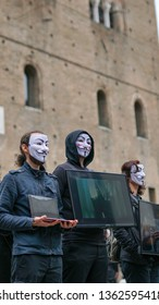 Bologna, Italy, April 5 2019 PETA street protest, anonymous for the voiceless, animal rights,