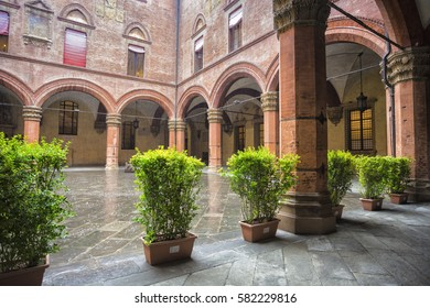 Bologna, Italy - August 18, 2014: Courtyard of the Palazzo Comunale in Bologna. Italy