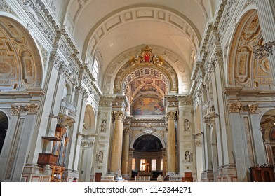 BOLOGNA, ITALY – AUGUST 18, 2016: Saint Peter Cathedral  interior.  The cathedral is a symbol of the city.
