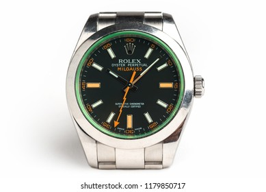 BOLOGNA, ITALY - AUGUST, 2018: Rolex Oyster Perpetual Milgauss watch. Rolex SA is a Swiss luxury watchmaker, founded by H. Wilsdorf and A. Davis in London, England in 1905. Illustrative editorial.