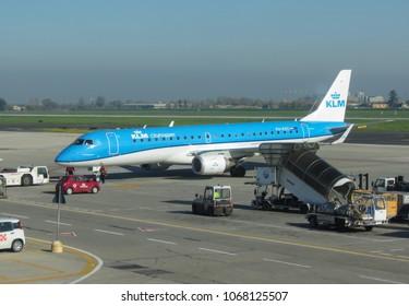 BOLOGNA, ITALY - CIRCA APRIL 2018: KLM Cityhopper Embraer ERJ-190STD (ERJ-190-100) parked