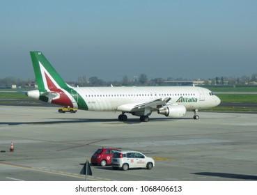 BOLOGNA, ITALY - CIRCA APRIL 2018: Alitalia Airbus A320 taxiing