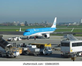 BOLOGNA, ITALY - CIRCA APRIL 2018: KLM Cityhopper Embraer ERJ-190STD (ERJ-190-100) taxiing