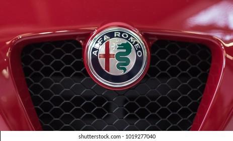 BOLOGNA, ITALY - CIRCA DECEMBER, 2017: Close up of Alfa Romeo logo.