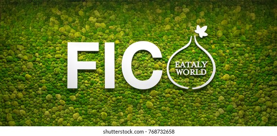 BOLOGNA, ITALY - CIRCA DECEMBER, 2017: Fico Eataly World logo, located in Bologna, is the largest agrofood park in the world. Internal view.