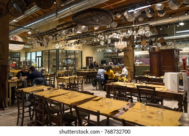 BOLOGNA, ITALY - CIRCA DECEMBER, 2017: Salumificio restaurant inside Fico Eataly World, located in Bologna, is the largest agrofood park in the world. Internal view.