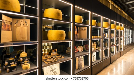 BOLOGNA, ITALY - CIRCA DECEMBER, 2017: Parmiggiano Reggiano store inside Fico Eataly World, located in Bologna, is the largest agrofood park in the world. Internal view.