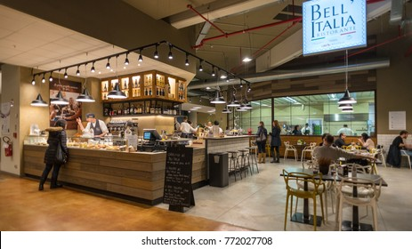 BOLOGNA, ITALY - CIRCA DECEMBER, 2017: Bella Italia restaurant inside Fico Eataly World, located in Bologna, is the largest agrofood park in the world. Internal view.