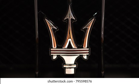 BOLOGNA, ITALY - CIRCA DECEMBER, 2017: Close up of Maserati logo.