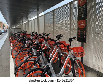 BOLOGNA, ITALY - CIRCA JULY, 2018: Mobike bike parked in the street, the new service of bike sharing in Bologna started the 18th of June 2018.