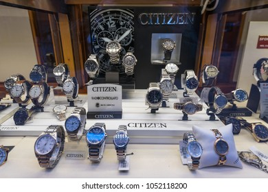 BOLOGNA, ITALY - CIRCA MARCH, 2018: Citizen Watches inside window shop. Citizen is a Japanese company manufacturing watch products.